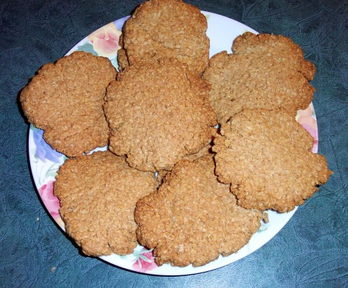 Giant oatmeal cookies have a pleasing crispy texture and soft middles.