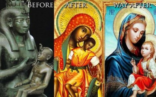 Adopted into Christianity is mother and child worship.  Along with that is the same symbols used with halo over head as with Isis and Horus.