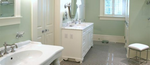 The bathroom badly needed the grout cleaned up, and now the floor looks great!