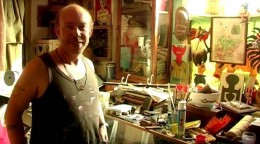 """Rupert in his workshop: """"Stepping into the alley was like entering a secret pathway to another world...."""""""