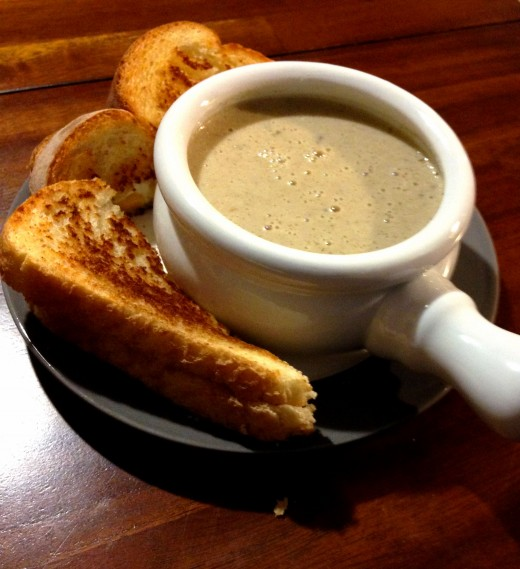 A delicious, creamy, mushroom soup that goes well with a simple grilled cheese.
