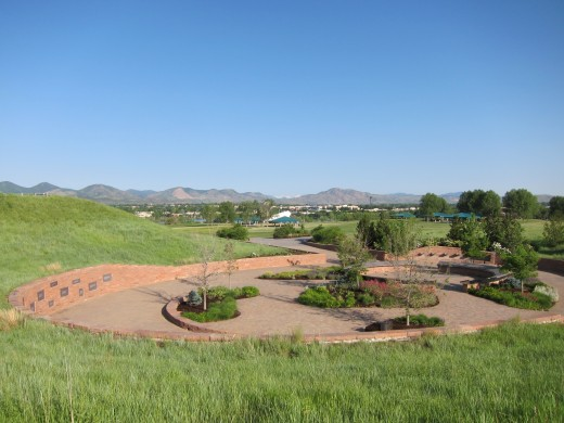 Memorial to the victims on Rebel Hill. Columbine High School is to the rear of the camera.