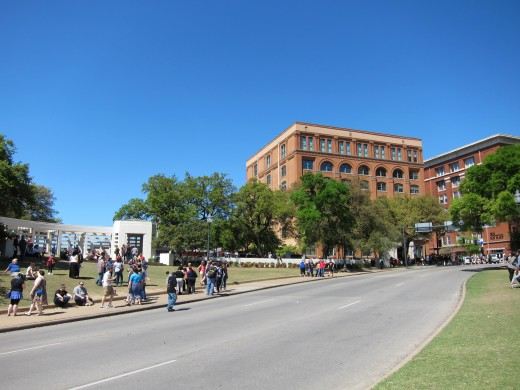 The Texas School Book Depository overlooking Elm Street.