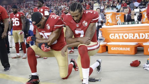 Colin Kaepernick kneels for anthem