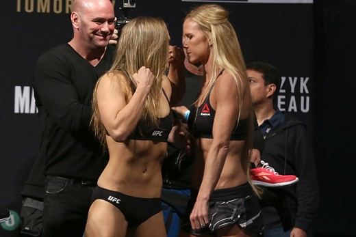 Staredown between Ronda Rousey and Holly Hom following their weigh-in