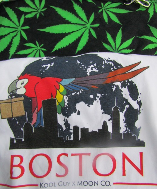 Parrots pop up all over- even as a T-shirt design seen at the Boston Cannabis Freedom Rally. - Photo by George Sommers