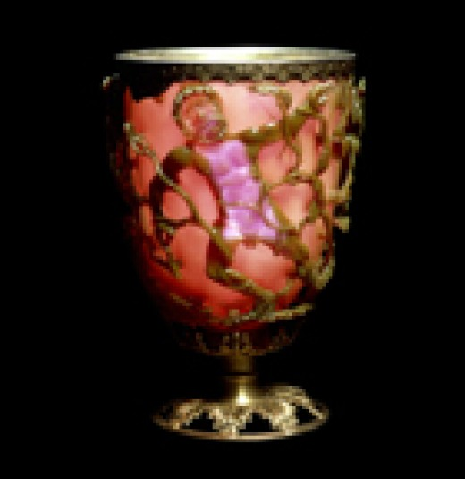 Lycurgus Cup appears to be red in color when lit from the outside