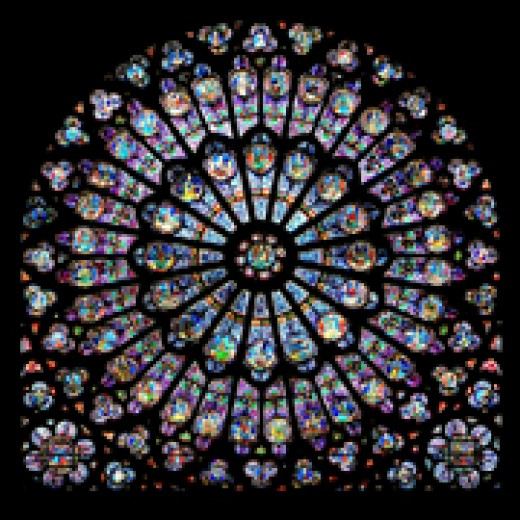 Stained Glass used in the South Rose Window of Notre Dame Cathedral