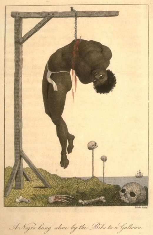 A Slave hung by his open  ribs to the gallows. This is a depiction of an actual event. The man lived hanging there for 3 days until he was finally beaten to death. Such sadistic behavior  was accepted by the American mainstream in 1814.