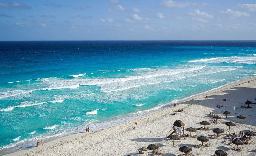 Cancun beaches fill with people during the spring but not during the cooler winter months.
