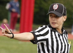 Robin DeLorenzo was  the first female to work a  high school state  championship football game.