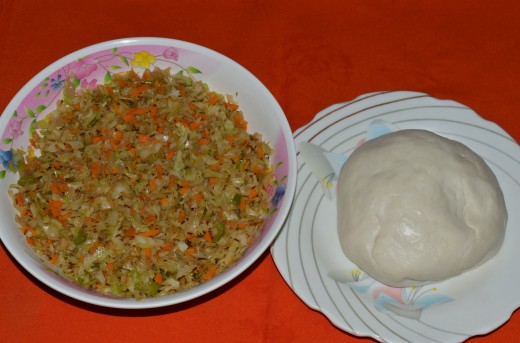 The stuffing and dough
