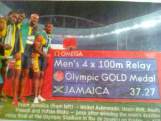 Jamaica wins Men's 4 x 100 m Relay Gold Medal