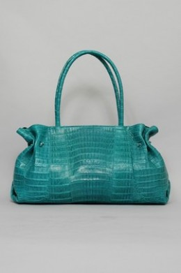 Carlos Falchi Handbag Large Dr Bag Teal Crocodile