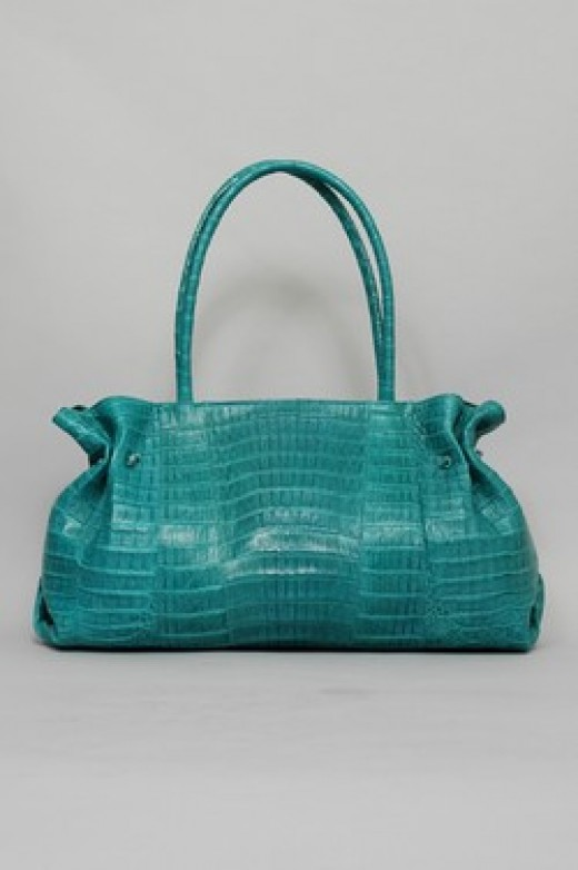 Carlos Falchi Handbag Large Dr Bag Teal Crocodile