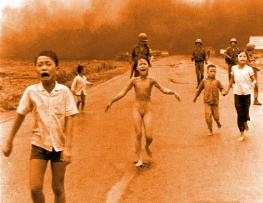 The affects of napalm as used by the US against the Communist forces in the Vietnam conflict.