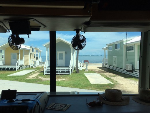 The view through the windshield of our motorhome when in our campsite at Fiesta Key