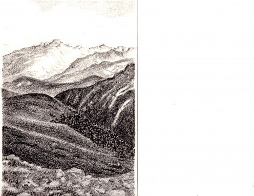 Pencil Sketch of Longs Peak from Trail Ridge Road by Jean Fader