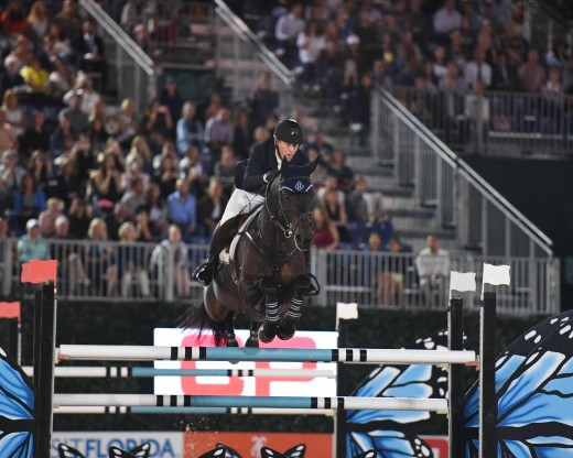 McLain Ward riding HH Carlos Z to a first place finish.