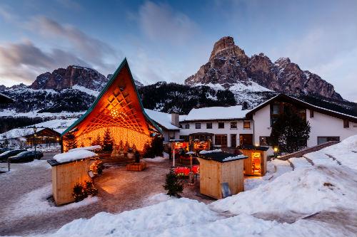 Ski resort of Corvara at Night, Alta Badia, Dolomites Alps, Italy