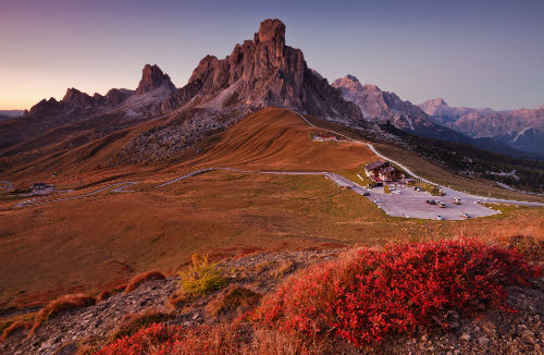 Evening in a mountain pass, Ra Gusella, Passo Giau, Cortina d'Ampezzo, Belluno, Dolomites, Italy