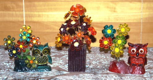 Mid-Century Lucite Owl and Flower Sculptures