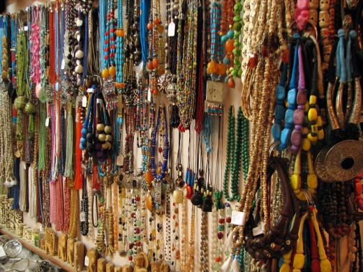 Usual accessories sold in one of the stores in Rishikesh