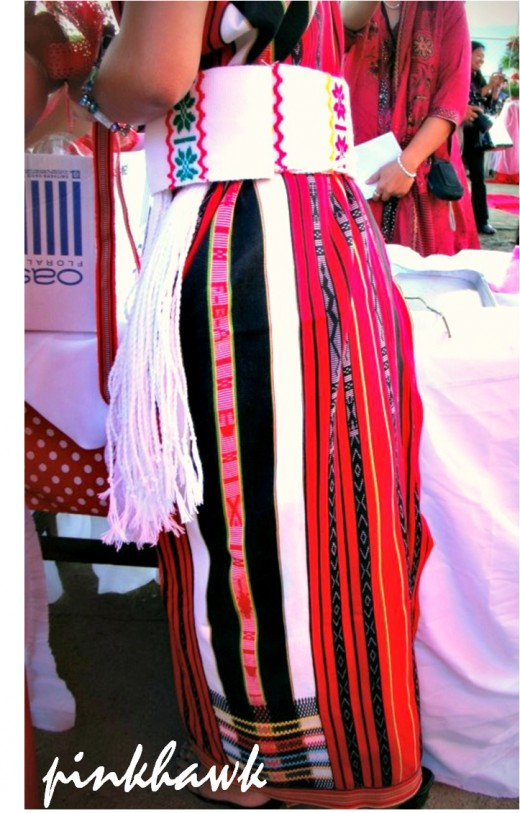 Traditional dress of the Ifugao with vibrant colors.