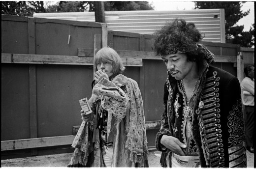 Brian and Jimi Hendrix at Monterey