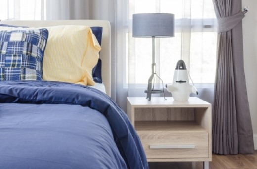 Blue, yellow and grey bedroom