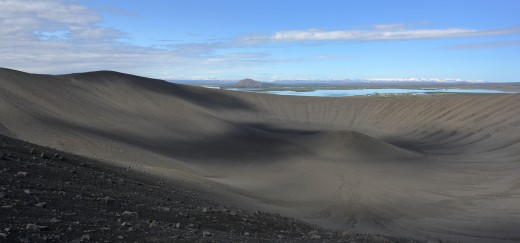 Hverfjall, located in northern Iceland's Mývatn region, is a rare example of a tuff ring volcano.