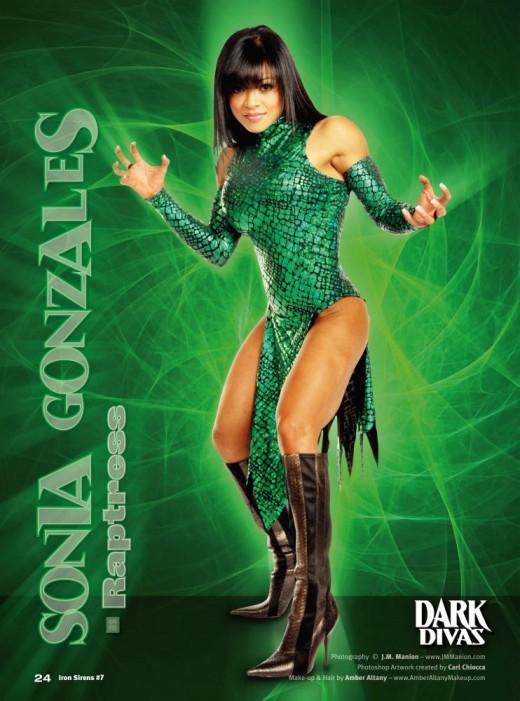 """Sonia Gonzales as Raptress in J.M. Manion's """"Iron Sirens - Dark Divas"""""""