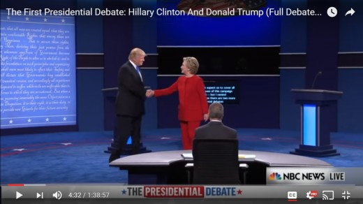 DJT steps into the handshake, bringing his body closer to HRC's arm. HRC leans forward toward DJT with the right side of her body, while her left shoulder pulls further away; with HRC's left arm behind her torso, and distance is maintained.