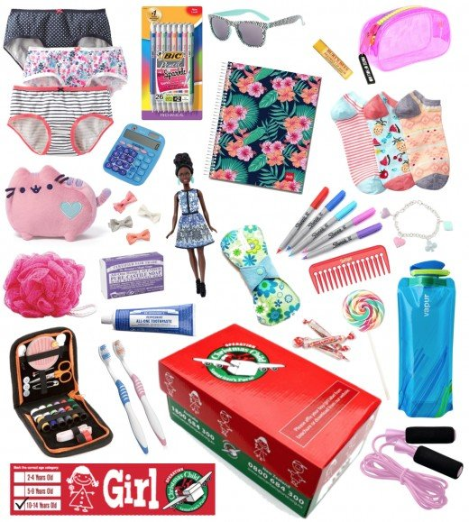 Example of a 10-14 Girl shoebox packed with fun, thoughtful gifts.
