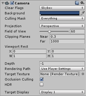 The standard camera in Unity has a range of values that can be modified.
