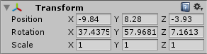 The transform properties allow you to modify the position and rotation of a GameObject.