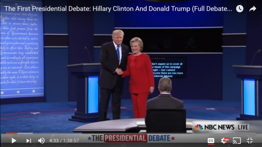 Photo Op moment. DJT has moved, with his left arm, the candidates are closer and both turn towards the audience.
