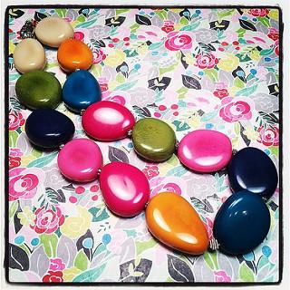 Ibiza necklace of multi-colored polished tagua nut.