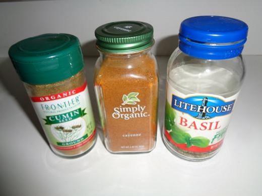 Cumin, Cayenne Pepper and Basil
