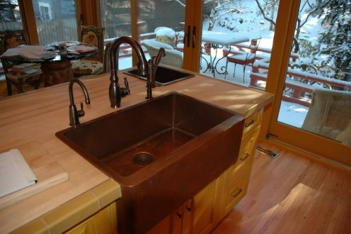Copper apron sink