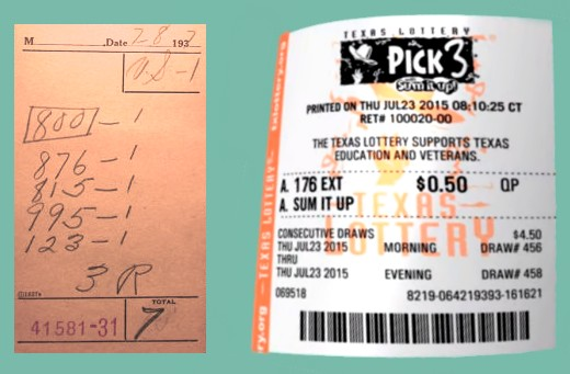 A numbers racket slip from 1937 and a Pick 3 slip from 2015.