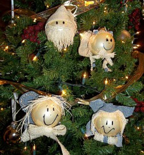 Burlap and Denim Angel and Santa Ornaments
