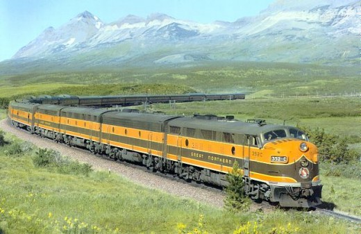 The 1955 version of the Empire builder after the dome coaches and the full length dome was added to each consist.