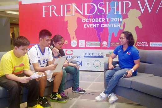 SOP Athlete leaders  Allisandra of OLPM and Barwin of MIPSS together with Unified Partner Jonhsep of OLPM interviewing Rio Olympics Silver Medalist Ms. Hidilyn Diaz on her journey as an athlete and her message to the athletes.