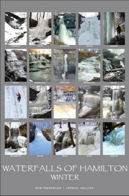 Poster showing 20 of Hamilton's waterfalls in winter