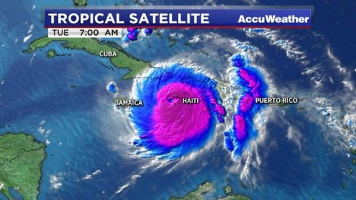 Hurricane Matthew making its approach on Cuba and Haiti