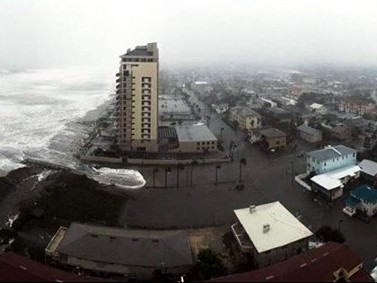 The storm surge is very visible in this photo as it comes inland in Jacksonville, Florida.