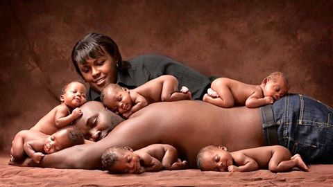 The McGhees with their sextuplets