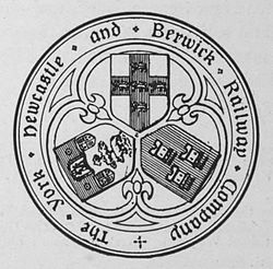 The York, Newcastle & Berwick Railway company seal displays the arms of each of the cities, with York's at the top, Newcastle's on the right