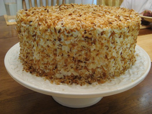 Toasted Coconut Cake with Coconut Cream Cheese Frosting